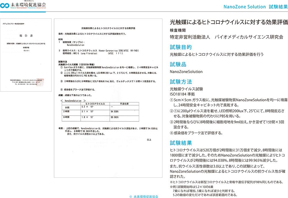 光触媒によるヒトコロナウイルス(ATCC 229E)